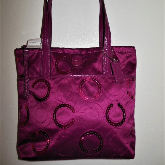 Coach Handbags - NEW COACH F25470 Passion Berry SIS Sequin Tote
